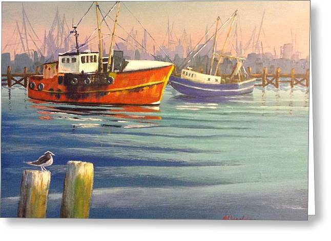 Shrimp Boats Greeting Card by Marilyn Jacobson