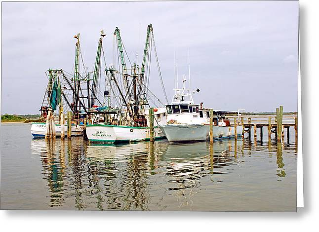 Shrimp Boats Of Port Orange Greeting Card by Classic Color Creations