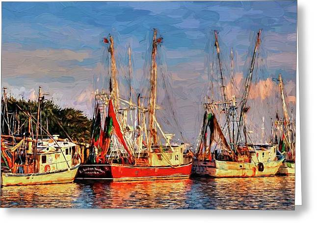 Shrimp Boats Shem Creek In Mt. Pleasant  South Carolina Sunset Greeting Card