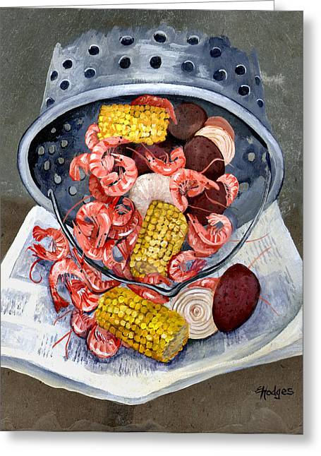 Yellow Brown Greeting Cards - Shrimp Boil Greeting Card by Elaine Hodges