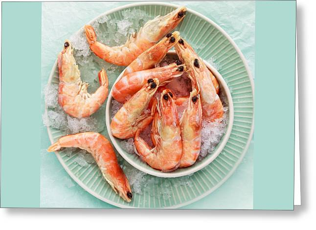 Shrimp On A Plate Greeting Card by Anfisa Kameneva