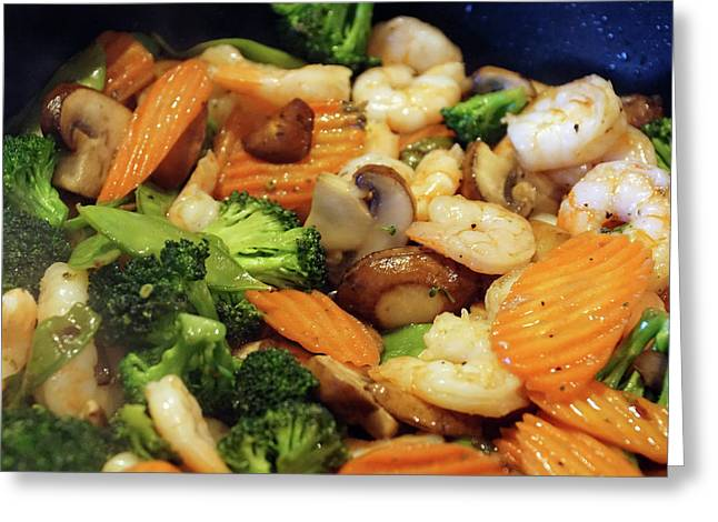 Greeting Card featuring the photograph Shrimp Stir Fry #1 by Ben Upham III