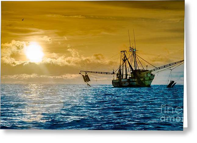 Shrimp Trawler At Dawn Greeting Card