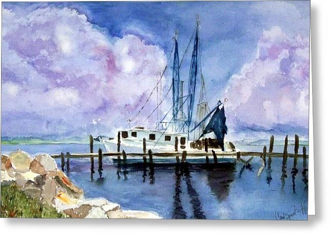 Shrimpboat Greeting Card by Carol Sprovtsoff