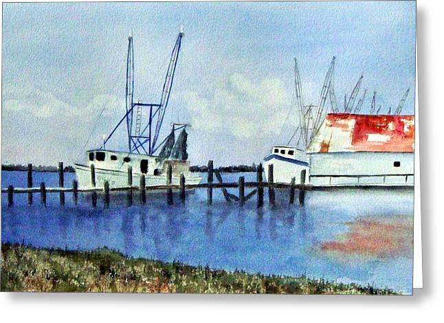 Shrimpboats At Dock Greeting Card by Carol Sprovtsoff