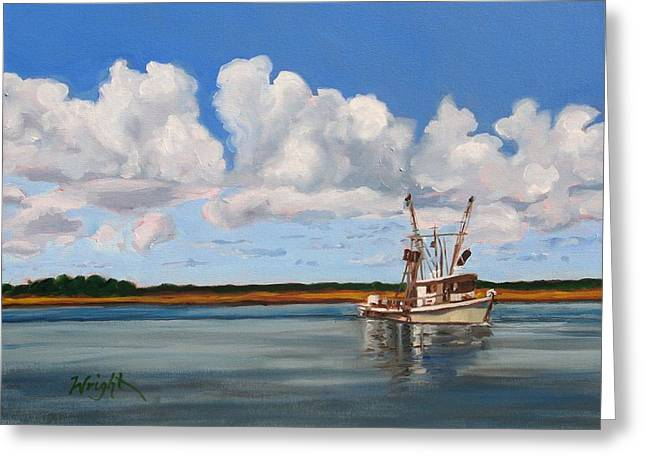 Shrimper Greeting Card by Molly Wright