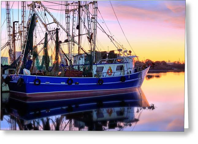 Shrimping Pensacola Bay Greeting Card by JC Findley