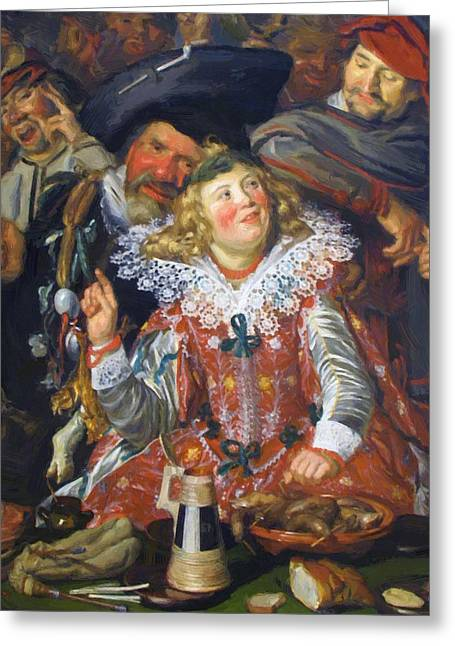 Shrovetide Revellers The Merry Company Greeting Card