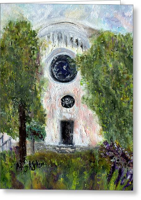 Greeting Card featuring the painting Shul At 306 by Aleezah Selinger