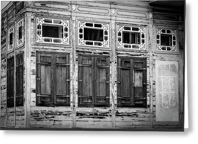 Shuttered And Peeling Palace Bw Greeting Card