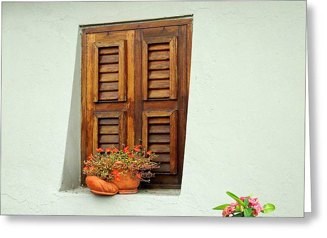 Greeting Card featuring the photograph Shuttered Window, Island Of Curacao by Kurt Van Wagner