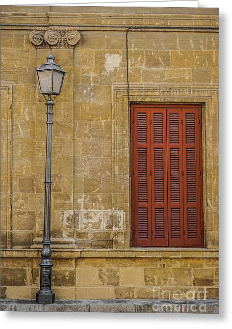 Shuttered Windows And A Light Pole Greeting Card