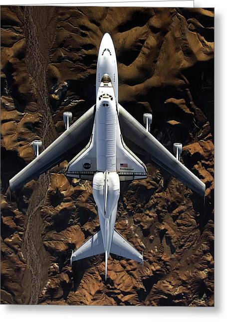 Shuttle Endeavor And 747 Greeting Card