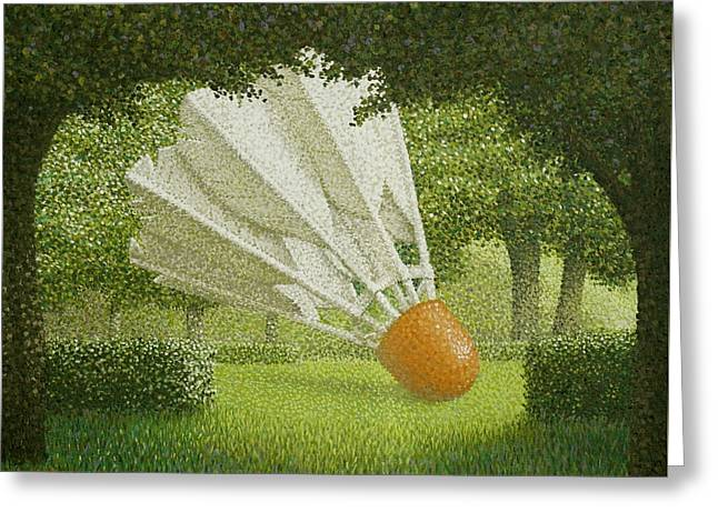 Shuttlecock Greeting Card by John Gilluly