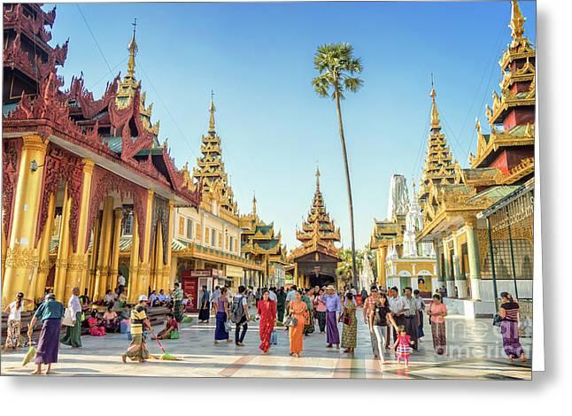 Shwedagon Pagoda Greeting Card by Louise Poggianti