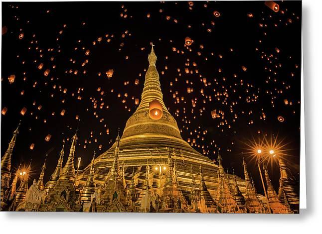 Shwedagon Temple In Yangon Greeting Card by Anek Suwannaphoom