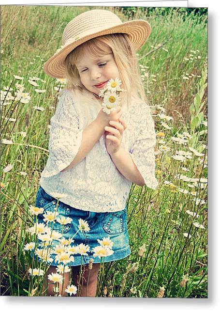 Shy Child Greeting Card by Maria Dryfhout