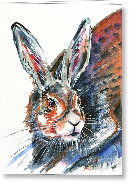 Greeting Card featuring the painting Shy Hare by Zaira Dzhaubaeva
