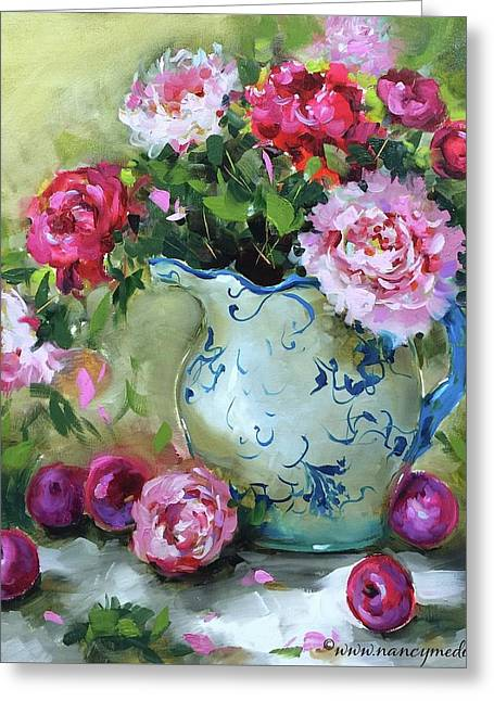 Shy Plums And Pink Peonies Greeting Card