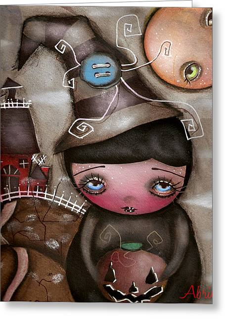 Shy Witch Greeting Card by  Abril Andrade Griffith