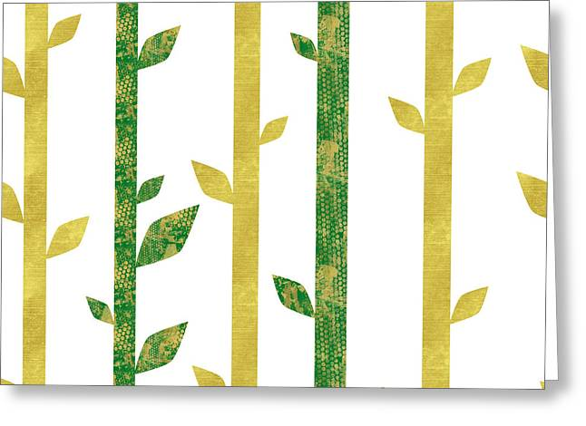 Siam, Abstract Bamboo Pattern, Gold Glitter, Dark Green Greeting Card by Tina Lavoie