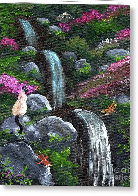 Siamese Cat And Dragonflies Greeting Card by Laura Iverson