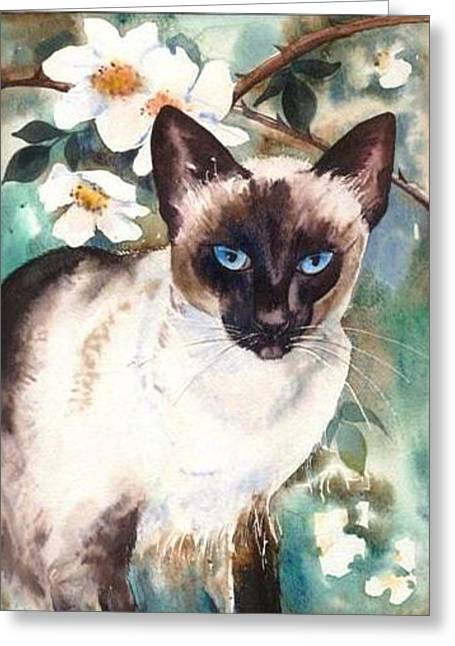 Greeting Card featuring the painting Siamese Cat by Sandra Phryce-Jones