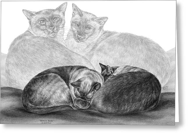 Siamese Cat Siesta Greeting Card