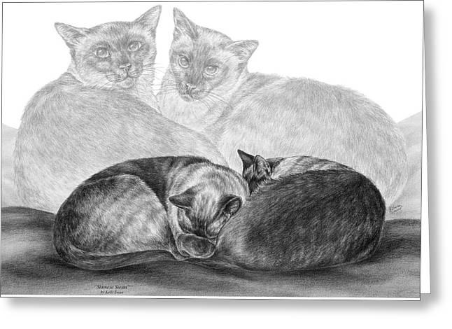 Siamese Cat Siesta Greeting Card