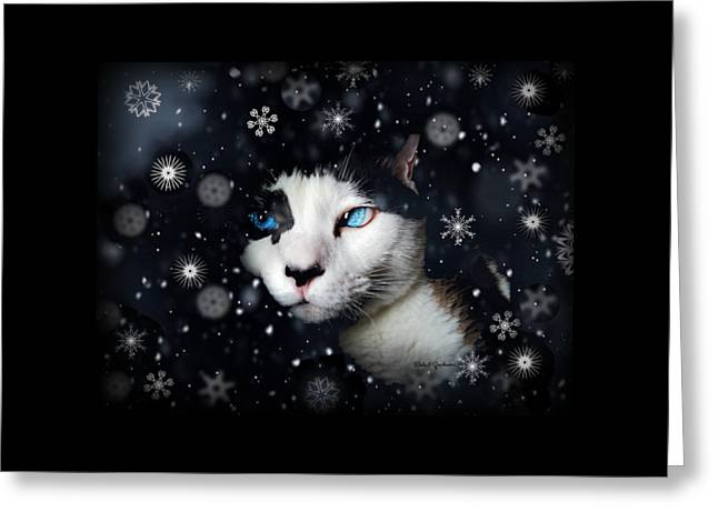 Siamese Cat Snowflakes Image   Greeting Card