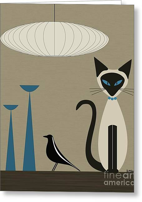 Siamese Cat With Eames House Bird Greeting Card