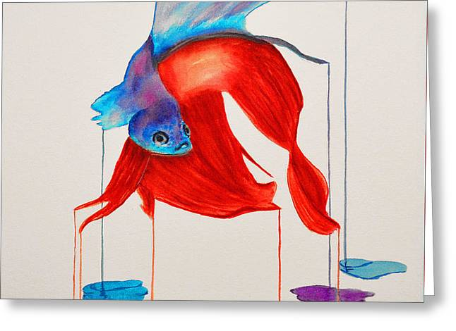 Siamese Fighting Fish Greeting Card by Ken Figurski