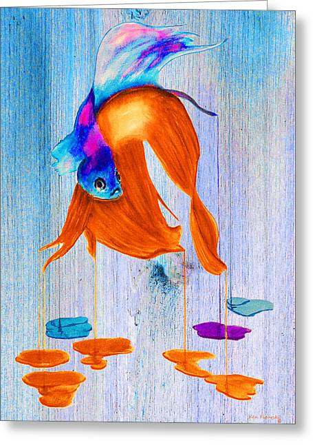 Siamese Fighting Fish On Wood Greeting Card by Ken Figurski
