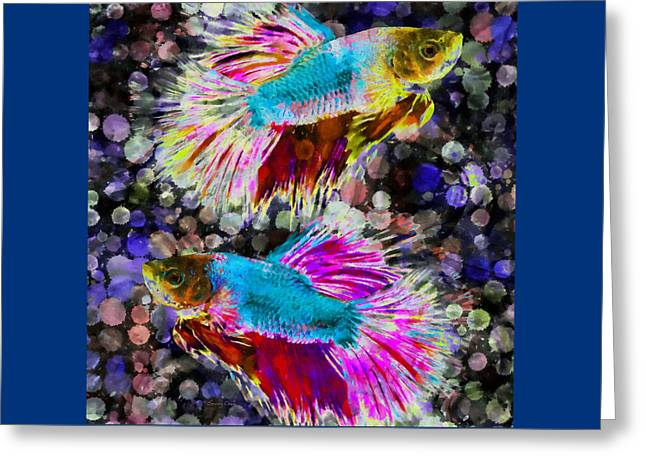 Siamese Fighting Fish Greeting Card by Stacey Chiew