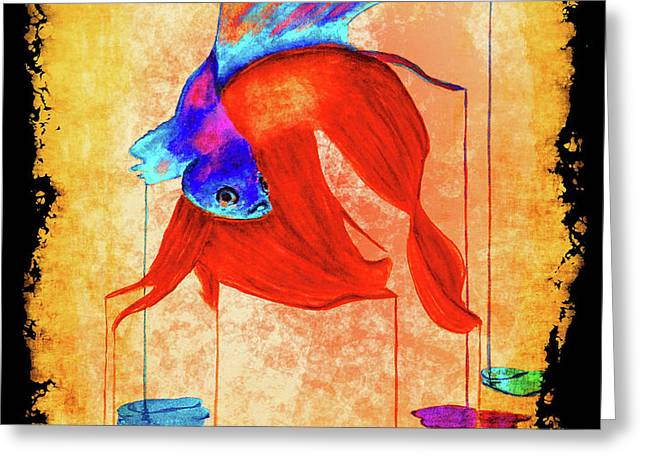 Siamese Fighting Fish Vibrant 2 Greeting Card by Ken Figurski