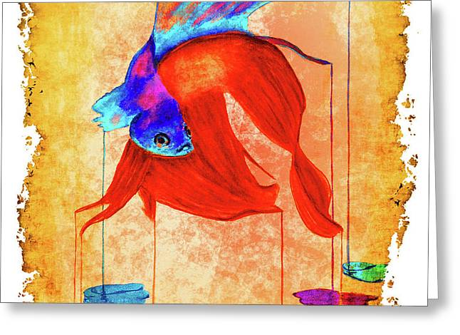 Siamese Fighting Fish Vibrant Greeting Card by Ken Figurski