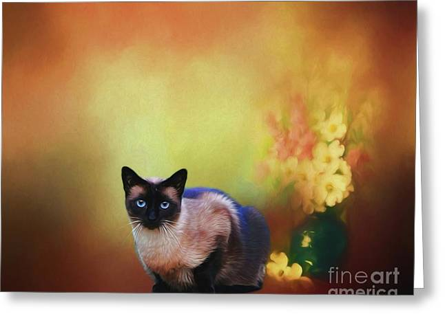 Siamese If You Please Greeting Card by Suzanne Handel