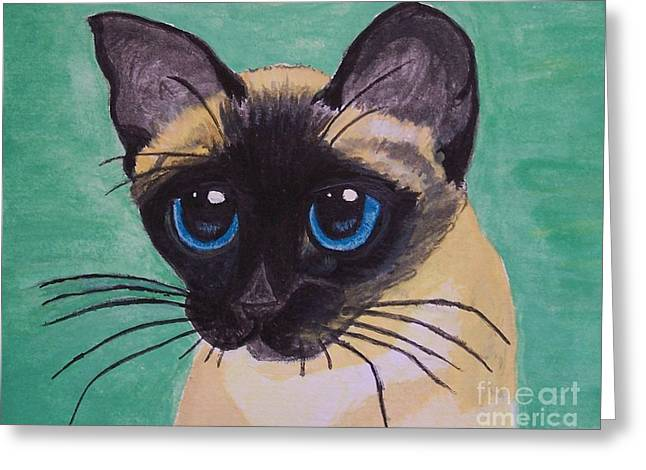 Greeting Card featuring the painting Siamese by Leslie Allen