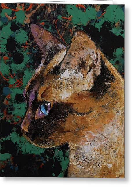Siamese Portrait Greeting Card by Michael Creese