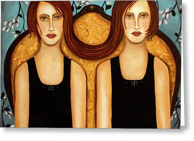 Siamese Twins Greeting Card by Leah Saulnier The Painting Maniac