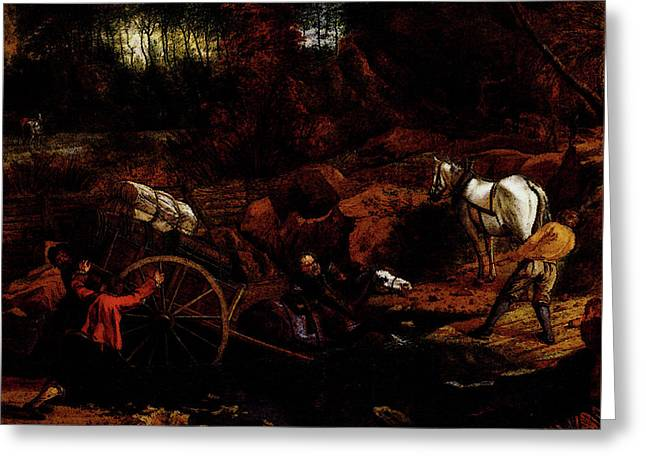 Siberechts Jan Figures With A Cart And Horses Fording A Stream Greeting Card