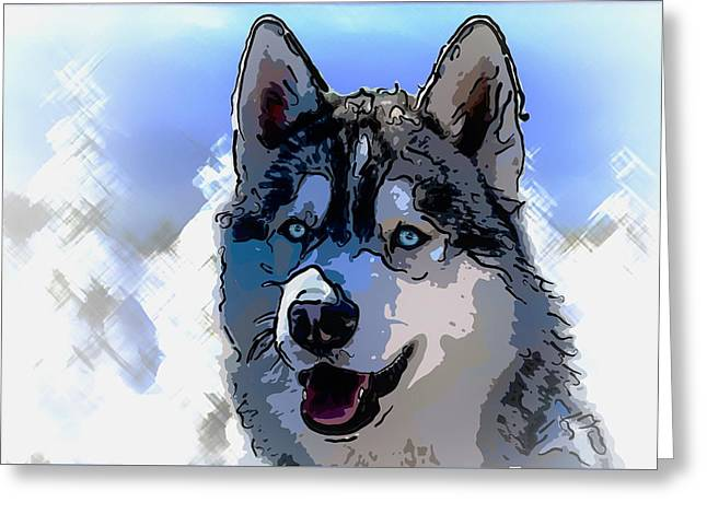 Siberian Husky Greeting Card by Alexey Bazhan