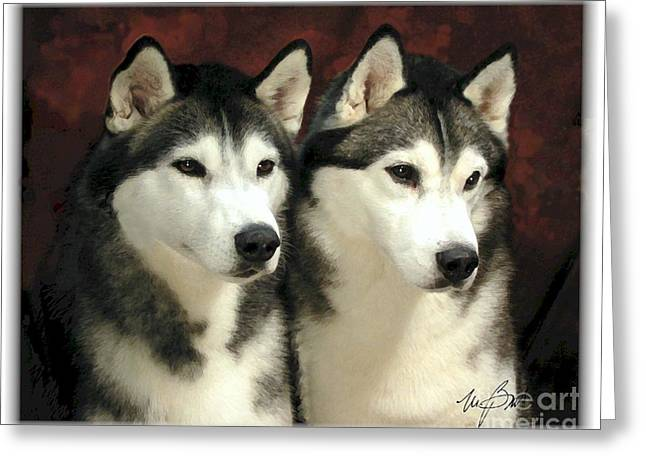 Recently Sold -  - Husky Greeting Cards - SIberian Huskies Related Greeting Card by Maxine Bochnia