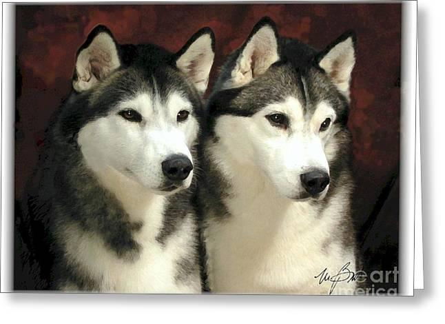 Siberian Huskies Related Greeting Card by Maxine Bochnia