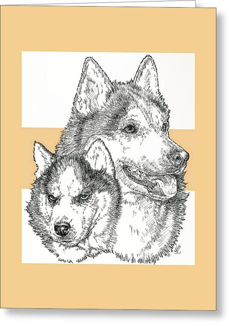 Siberian Husky Father And Son Greeting Card by Barbara Keith
