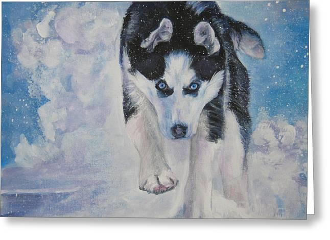 Siberian Husky Run Greeting Card by Lee Ann Shepard