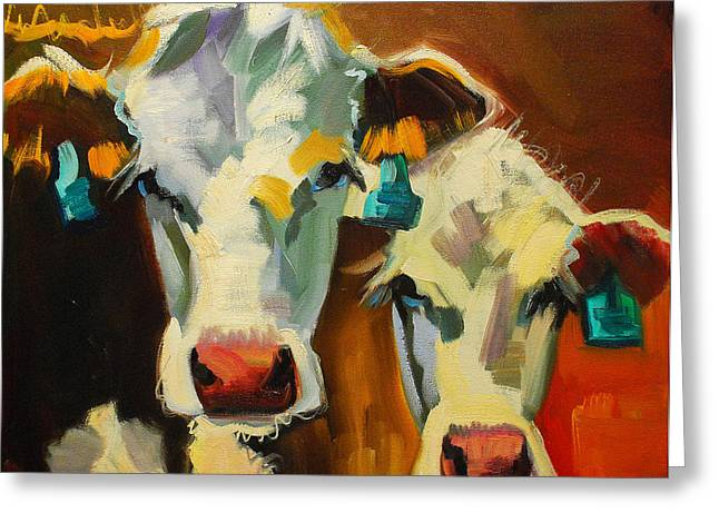 Sibling Cows Greeting Card by Diane Whitehead