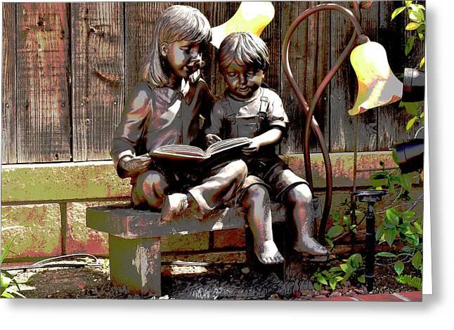 Siblings Reading Statue Artistic Greeting Card