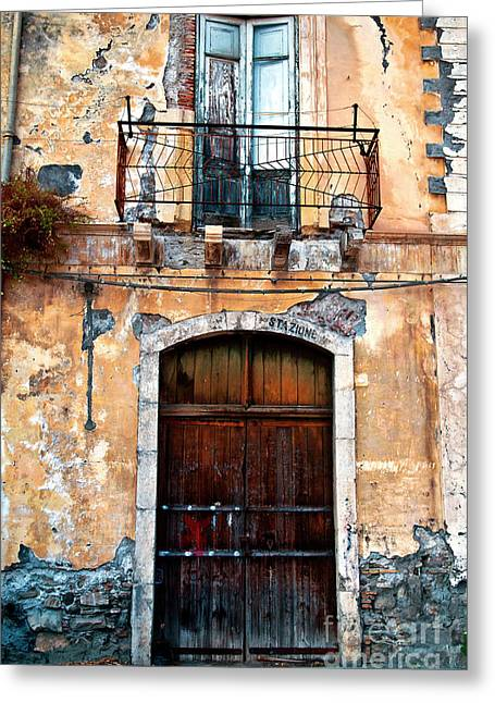 Greeting Card featuring the photograph Sicilian Facade by Silva Wischeropp