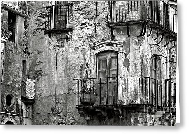 Greeting Card featuring the photograph Sicilian Medieval Facade by Silva Wischeropp